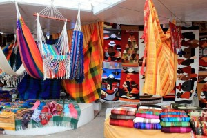 Typical items at the Otavalo Poncho Market