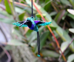 A hand-made beaded hummingbird